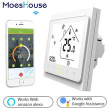 WiFi inteligentny termostat regulator temperatury do wody elektryczne ogrzewanie podłogowe woda kocioł gazowy współpracuje z Alexa Google Home tanie tanio MoesHouse 95-240VAC 50~60HZ Resistance5A Inductive3A Resistance3A Inductive1A NTC3950 10K +-0 5 C 5 -35 C 5 ~ 99 C 0 ~ 45 C