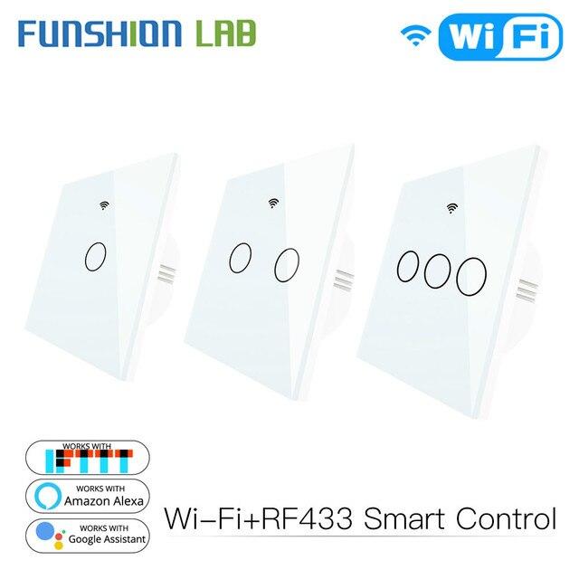 WiFi Smart Switch Fernbedienung Glas Panel Tuya Licht Schalter Funktioniert Mit Alexa Echo Google Home RF433 EU Typ Weiß touch