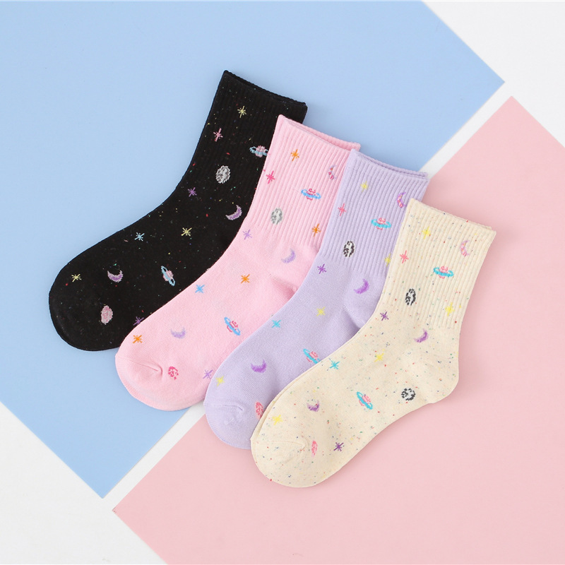 Women Colorful Universe Patterned Cotton Socks Moon Star Original  Casual Joker For Ladies Youthful College Style Joker Sox