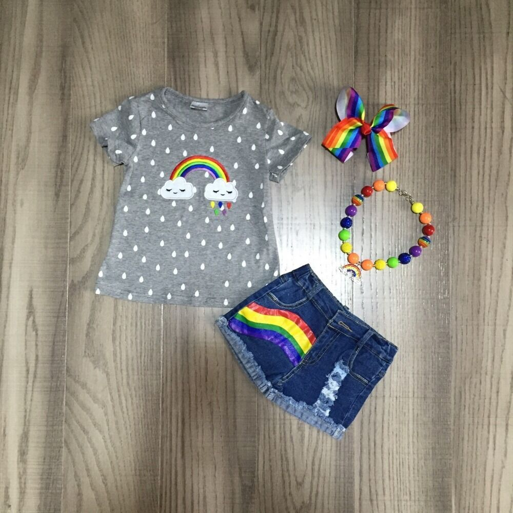 Baby Girls Summer Jeans Outfits Girl Rainbow Cloud Shirts Girls Boutique Denim Outfits With Accessories