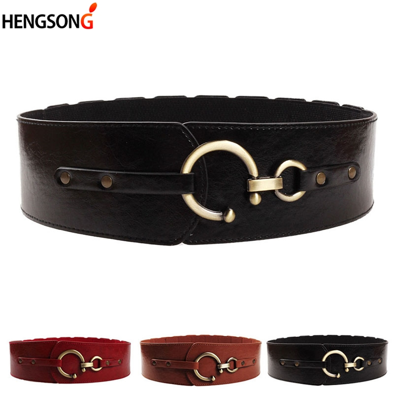 High Quality Faux Leather Wide Belt For Dress Women 2019 New Designer Belt Fashion Decorative Elastic Wide Belt Waist Band