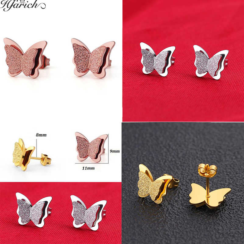 Hfarich Butterfly Stud Earrings Three Color Stainless Steel Earring Attractive Animal Earrings For Women Peace Party