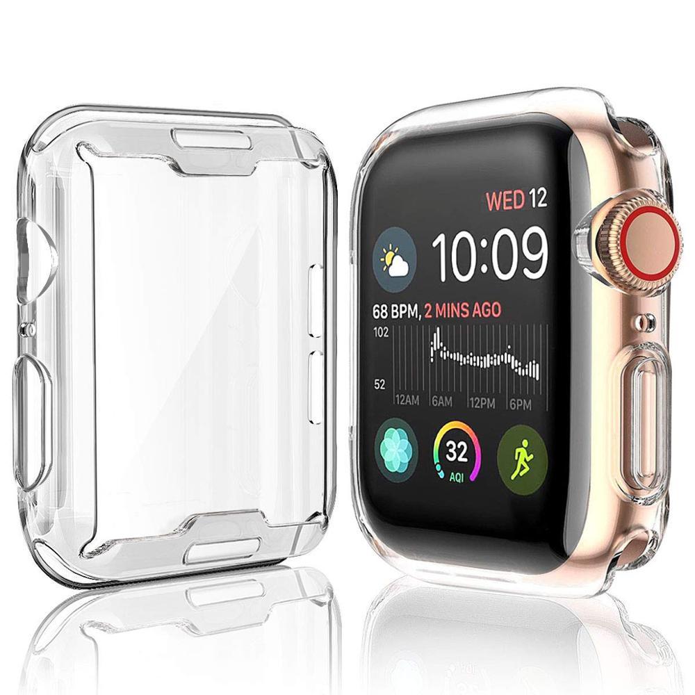 Assista caso capa para apple watch 4 3 2 1 42mm 38mm macio 360 fino claro tpu protetor de tela para iwatch série 4/3/2/1 44mm 40mm