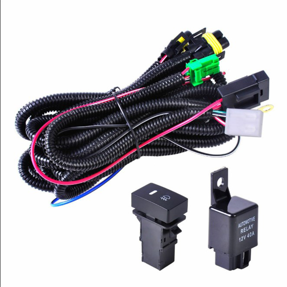 3pcs Car Fog Light 12V Wiring Harness Socket With LED Indicator Switch Auto Relay For H11 Bulb Interface LED Indicator Switch