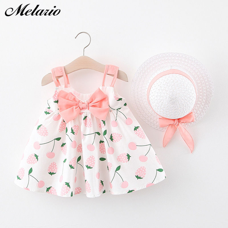Melario Baby Girls Dress Cute Baby Girl Clothes Suspenders Bow Princess Dresses For Girl Kids Dress Newborn Clothing With Hat