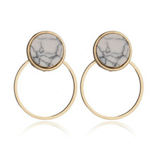 цена на Korean Fashion Hot Sale Simple Geometric Earrings Marble Pattern Alloy Women Circle Earrings