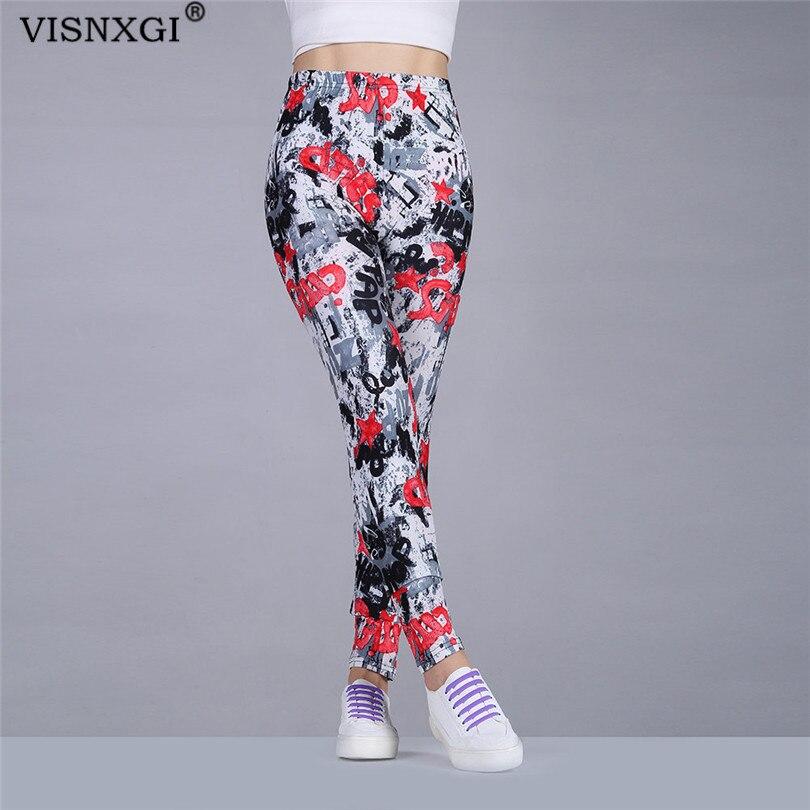 VISNXGI High Waist Fitness Leggings Women Workout Push Up Legging Butterfly Leggings Black Sport Letters Print Graffiti Bottoms