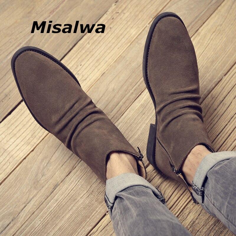 Misalwa Casual Cow Suede Leaher Men Short Boots Autumn Winter Elegant Chelsea Boots Men Zipper 37-45 Super Genuine Ankle Shoes