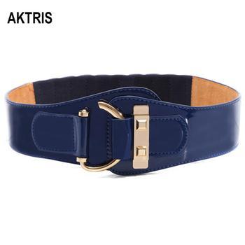 AKTRIS Fashion Echt Lederen Elastische Vrouwelijke Overjas Brede Taille Afdichting Patent Donsjacks Koeienhuid Riem voor Vrouwen FCO111