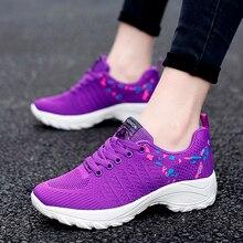 Sneakers Shoes Tenis Purple Ladies Feminino Fashion Women Brand Thick Sole Flying-Weave
