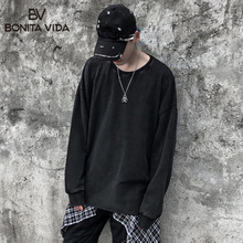Bonita Vida Retro Casual Hoodies Men 2019 Winter High Street Oversizeed Severely Washed Cotton Black And Sweatshirts