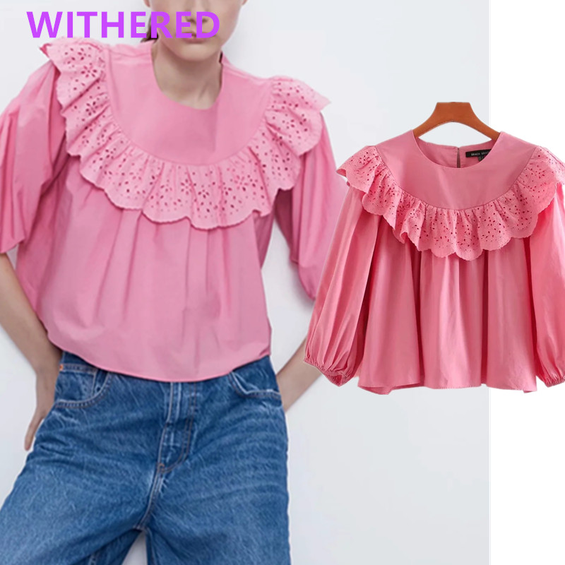 Withered England High Street Lace Poplin Solid Short Blouse Women Blusas Mujer De Moda 2020 Kimono Shirt Womens Tops And Blouse