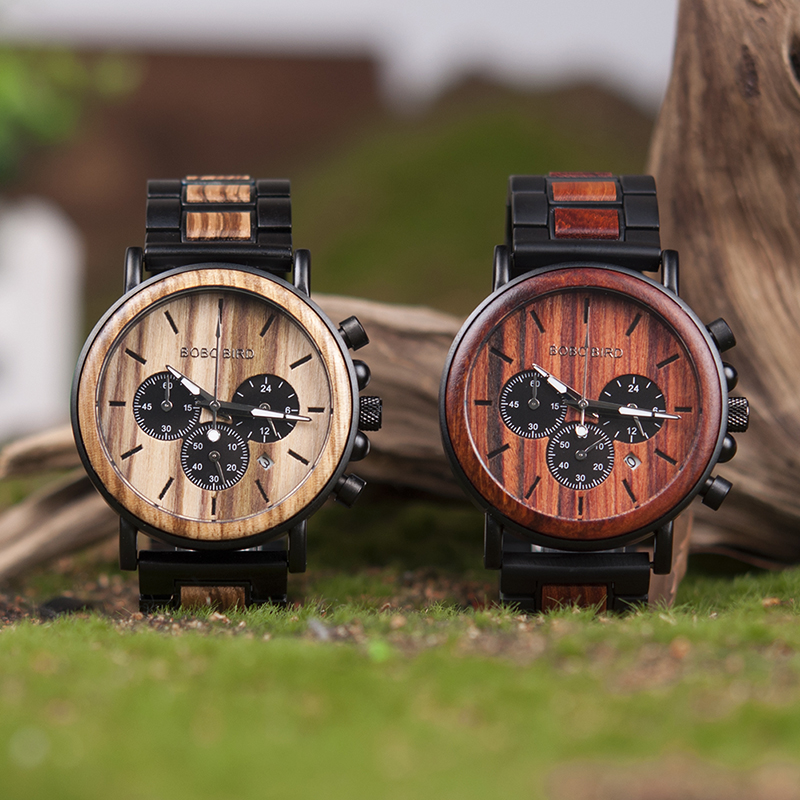 BOBO BIRD Wooden Watch Men erkek kol saati Luxury Stylish Wood Timepieces Chronograph Military Quartz Watches in Wood Gift Box 5