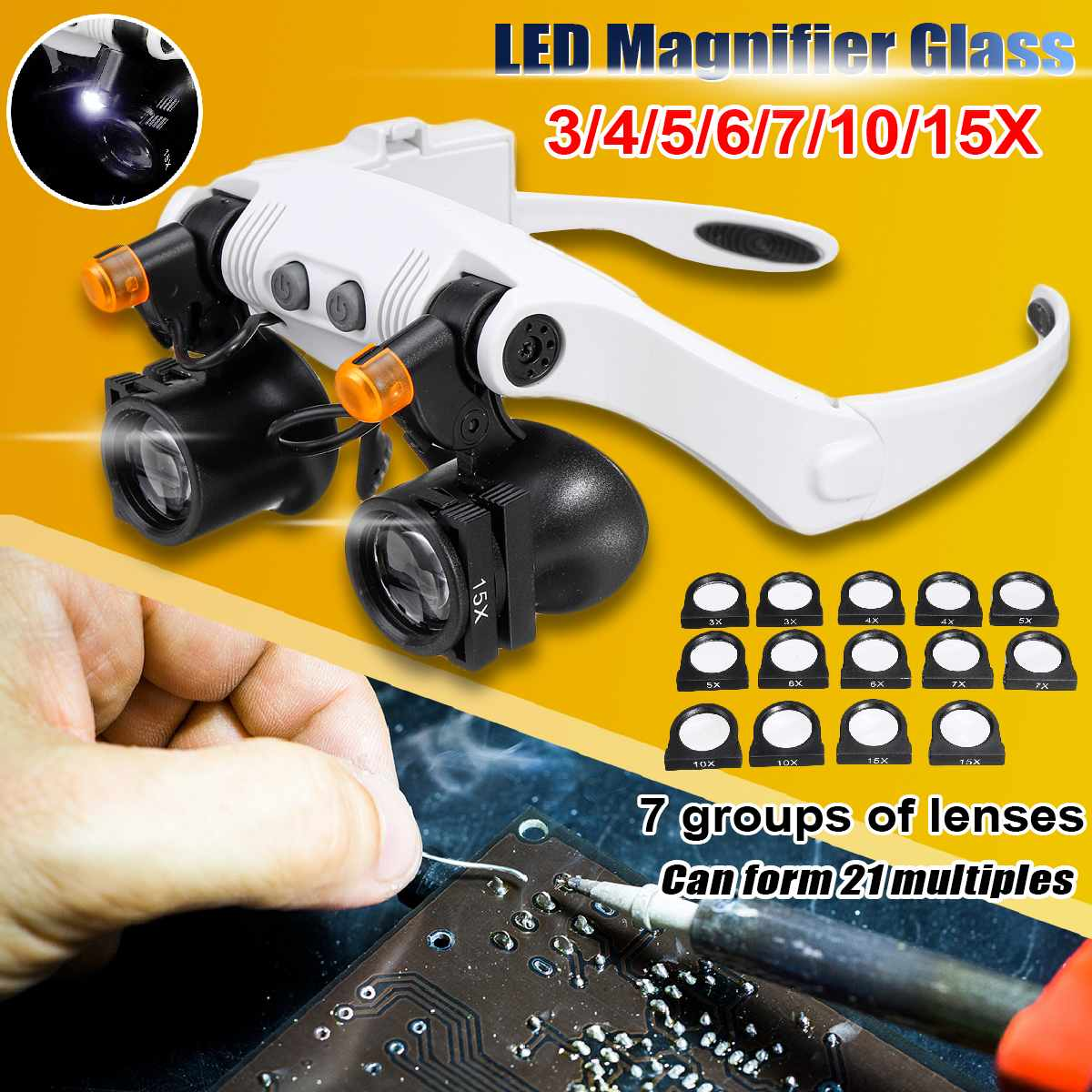 Professional 3X 4X 5X 6X 7X 10X 15X Adjustable 7 Lens Loupe LED Light Headband Magnifier Glass LED Magnifying Glasses With Lamp