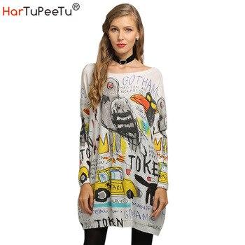 2020 Autumn Winter Sweater Dress Women Oversize Wool Knit Sweater Funny Cartoon Print Loose Casual Batwing Long Sleeve Basic Top batwing sleeve self tie knit dress