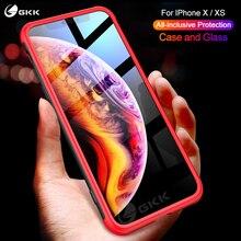 GKK Original Case for iPhone X XS 360 Full All-inclusive Matte Hard PC Soft Edge Cover Fundas Coque