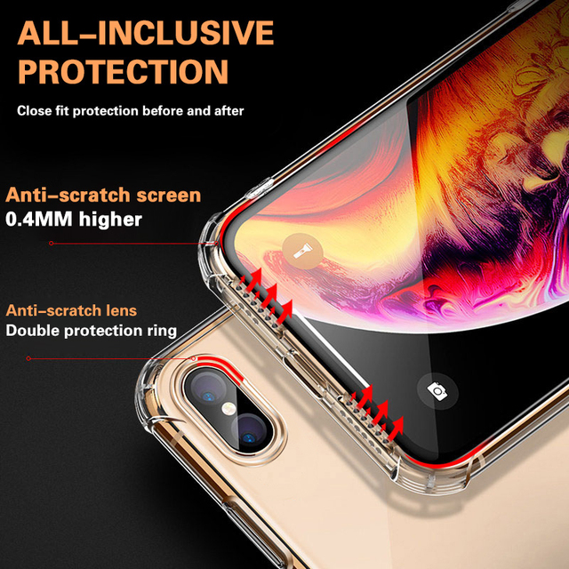 Luxury Transparent Shockproof Silicone Case For iPhone 11 X Xr Xs Max Case 12 11 Pro Max 8 7 6s Plus SE Case Silicone Back Cover 5