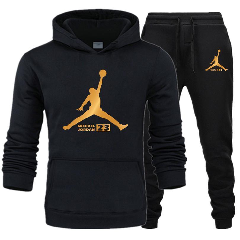 Autumn Hot Sale Hoodies JORDAN Men's Sets Hoodies+pants Two Pieces Sets Casual Tracksuit Male Casual Sweatshirt Fitness Trouser