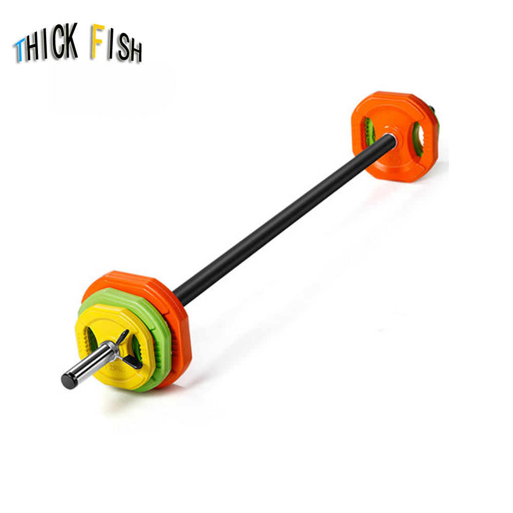20kg Aerobics Barbell Set Men's Women's Fitness Weightlifting Squat Fitness Equipment Exercise Arm Muscle Small Hole Dumbbells