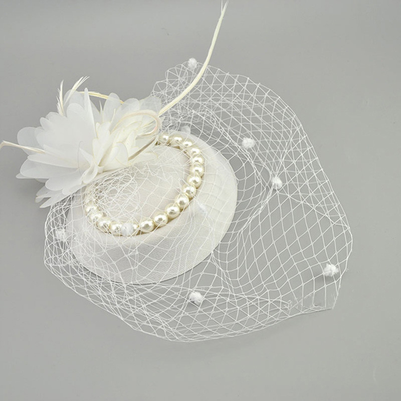 E JUE SHUNG Vintage Birdcage Net Bridal Hats With Feather Pearl Women Fascinator Face Veils Wedding Hats Wedding Accessories