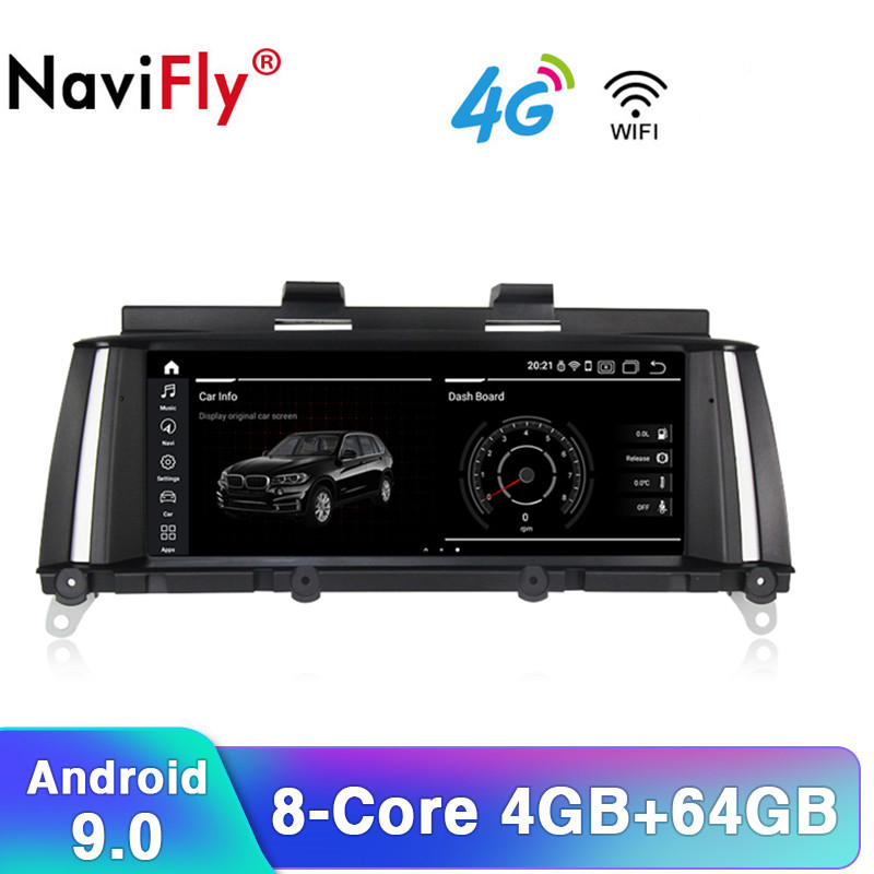 NaviFly IPS 8Core Android9.0 4G RAM 64G ROM voiture GPS radio cassette pour BMW X3 F25 X4 F26 2011-2017 avec 4G sim wifi BT DAB + OB2