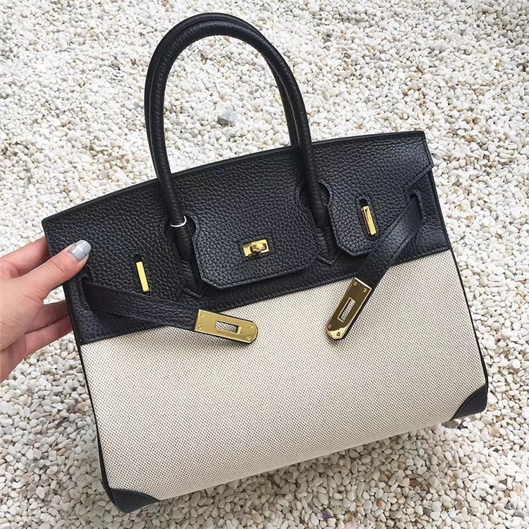 Europe And America Big Brand WOMEN'S Bag High-End Canvas With Cowhide Mixed Colors Birkin Bag Lock Hand Shoulder Bag