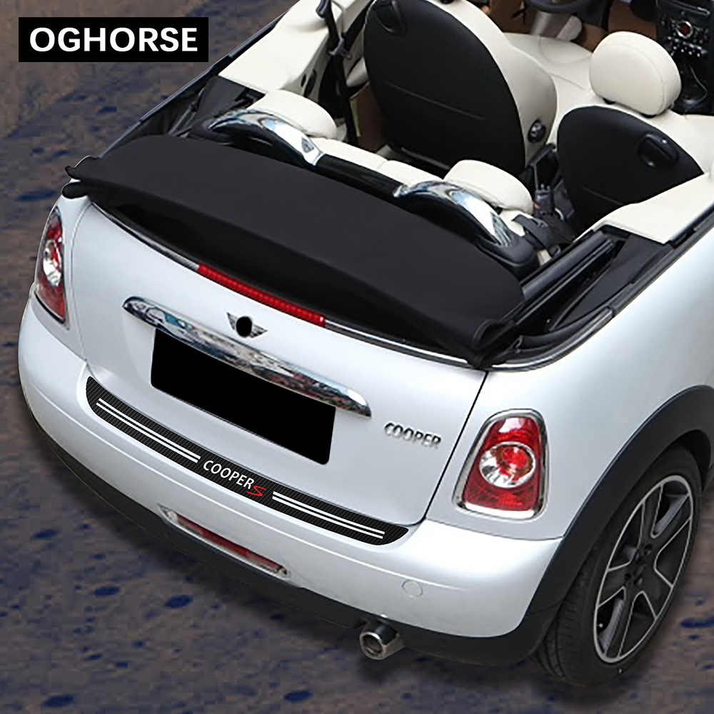รถด้านหลังกันชน Trunk โหลด EDGE Protector GUARD Trim คาร์บอนไฟเบอร์ไวนิลสติกเกอร์สำหรับ MINI COOPER S R56 JCW Cabrio r57 อุปกรณ์เสริม