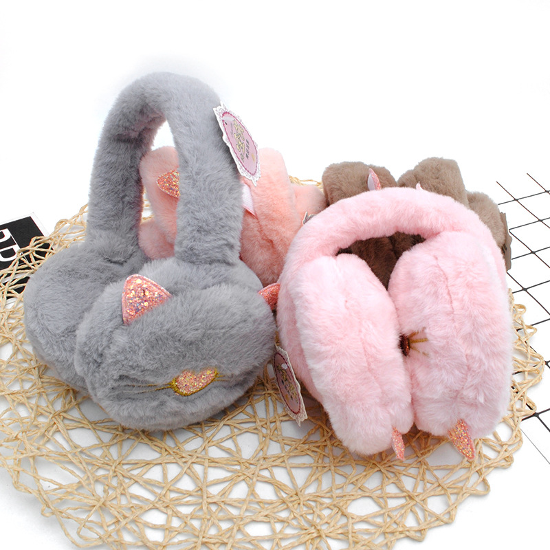 Cute Foldable Cat Ears For Women And Girls Thick Plus Plush Fur Ear Warmers