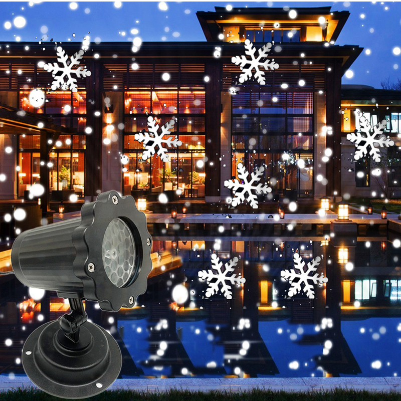 2019 New Style Snowflake Stage Lights Fairy Sky Snowfall Laser Projector Lamp Outdoor Garden Party Christmas New Year Home Decor