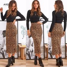 Leopard Long Skirt Women 2019 Fashion Bodycon High Street Bandage Skirts Office Lady Sheath Party Club Midi