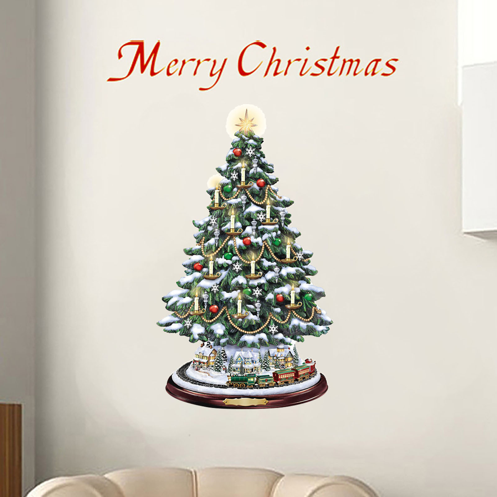 Stickers Christmas-Decorations Window-Paste Home for Pegatinas Paredes 1209 Rotating-Train