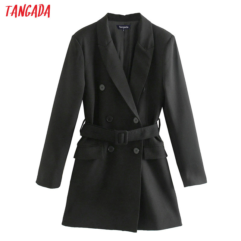 Tangada Fashion Women Black Blazer Dress With Belt Turn Down Collar Long Sleeve Ladies Elegant Mini Dress Vestidos XN432