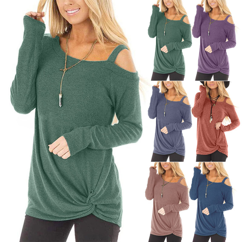 Women Long Sleeve Off-shoulder T-shirt Autumn Winter Comfortable Solid Color Knotted Loose Top IK88