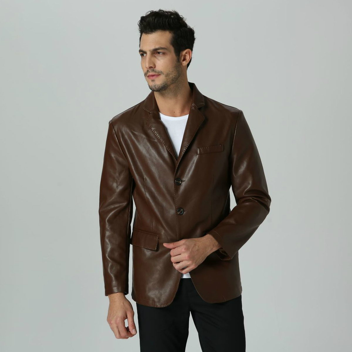 Hot Faux Leather Brown Men Blazer Casual Business PU Leather Slim Fit Plus Size Suit Jacket For Boy Long Sleeve Male Suit Blazer