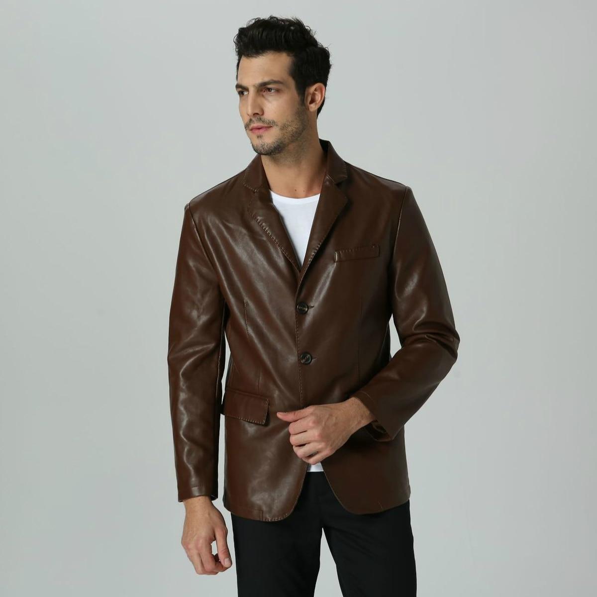 Hot Faux Leather Brown Men Blazer Casual Business PU Leather Slim Fit Plus Size Suit Jacket For Boy Long Sleeve Male Suit Blazer