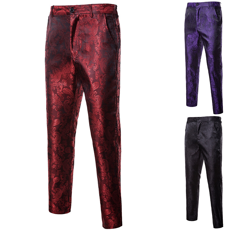 HOT 2020 Fashion Casual Men Dark Grain Palace Nightclub Performances Dance Groom Wedding Wine Red/purple Trousers Men Slim Pants