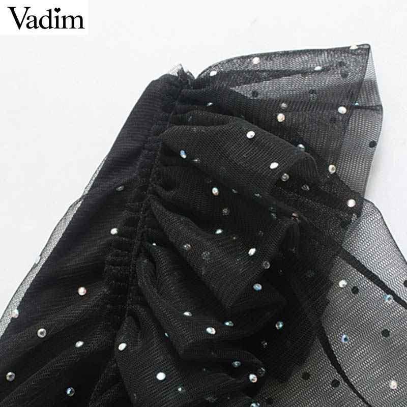 Vadim Sexy Sáng Bóng Lưới Túi 1 Mini Lệch Cổ Một Tay Trong Suốt Tay Đảng Câu Lạc Bộ Mặc Sang Trọng Áo QC992