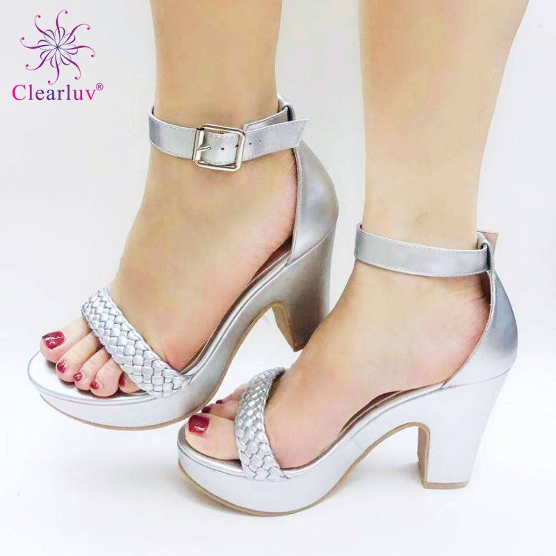 Wedding SILVER Color Peep Toe Italian shoes African shoes without bag set Comfortable Women Shoes For Parties