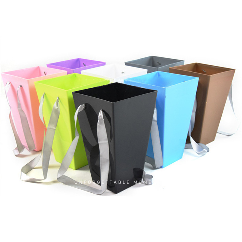 Pure Color Flower Paper Boxes With Handhold Hug Bucket Packaging Box Party Wedding Gift Packing Cardboard in Gift Bags Wrapping Supplies from Home Garden