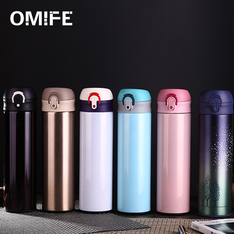 Omife Double Wall Stainless Steel Vacuum Flasks 500ml Thermos Cup Coffee Tea Milk Travel Mug Thermo Bottle Gifts Thermocup in Vacuum Flasks Thermoses from Home Garden