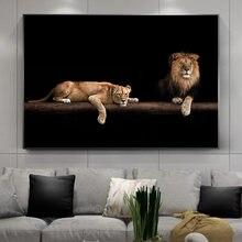Peinture sur toile avec Lion nocturne, animaux sauvages en afrique, affiches et imprimés avec bête