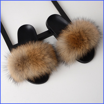 SARSALLYA Fur Slippers Women Real Fox Fur Slides Home Furry Flat Sandals Female Cute Fluffy House Shoes Woman Brand Luxury 2020