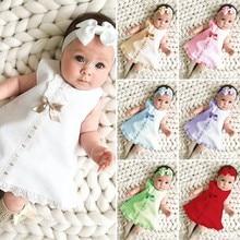 Платье для новорожденных девочек, Повседневное платье макси без рукавов с бантом + комплект повязок на голову, одежда с бантом и оборками, кр...