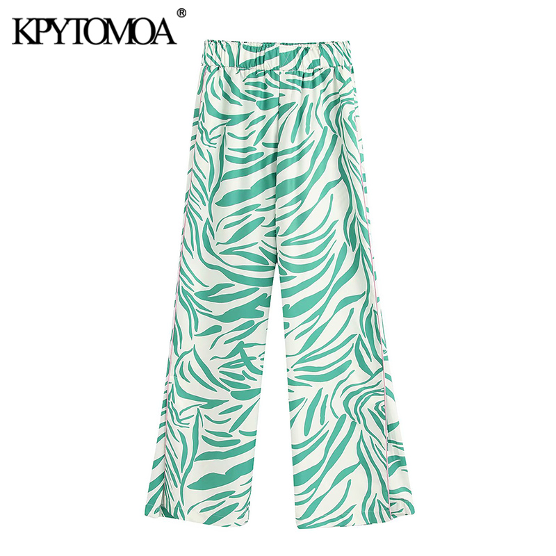 KPYTOMOA Women 2020 Chic Fashion High Waisted Printed Pants Vintage Elastic Waist Side Vents Female Trousers Pantalones Mujer