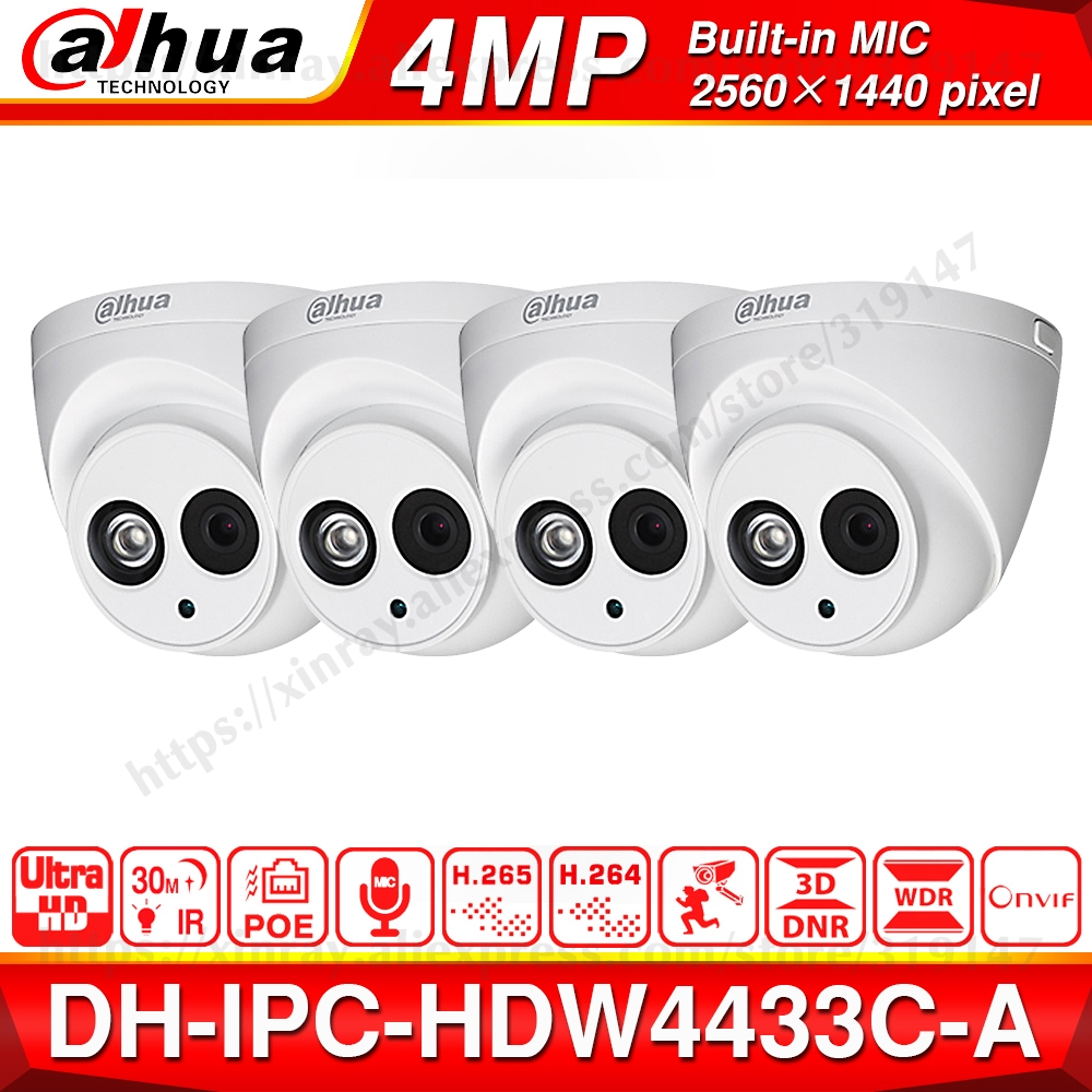 Wholesale Dahua IPC HDW4433C A 4PCS POE Network Mini Dome Camera With Built in Micro 4MP CCTV Camera 4pcs/Lot For CCTV System-in Surveillance Cameras from Security & Protection