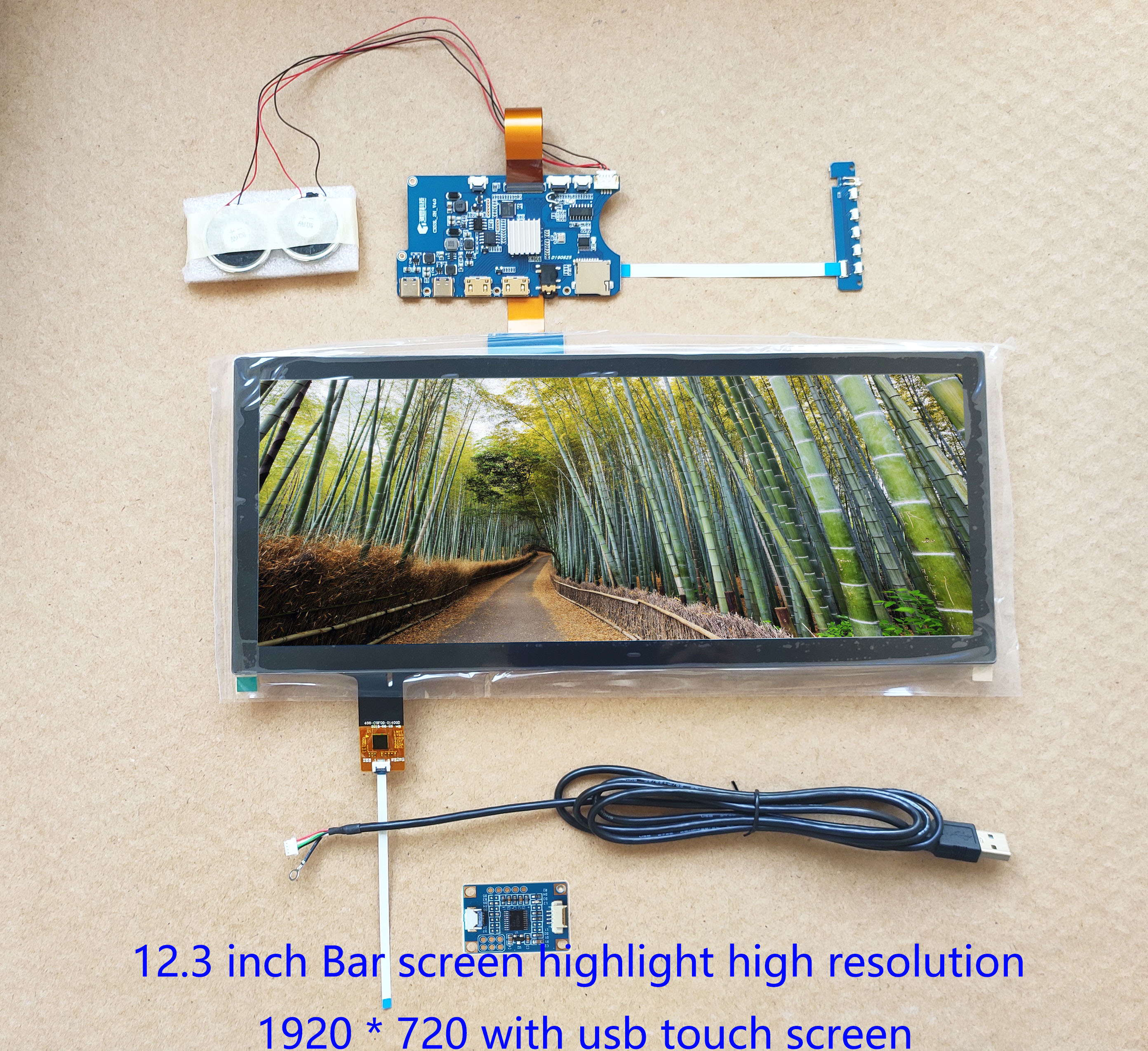 12.3 Inch Bar LCD Display Kit 1920 * 720 IPS High Brightness With Mini Driver Board, Usb Capacitive Touch Screen