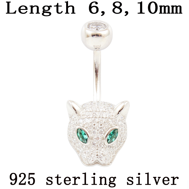 Belly Button Ring 925 Sterling Silver Leopard Head Body Jewelry S925 Zircons Clear Prevent Allergy Nickel Free Body Piercing
