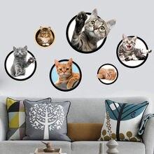 Лидер продаж 3d Мультяшные Коты настенные наклейки для детской