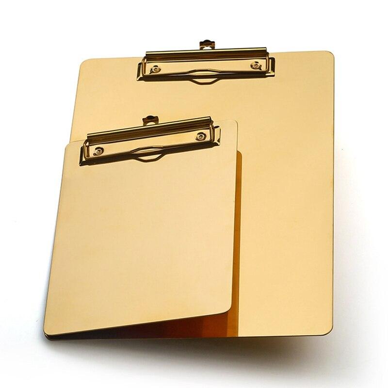 Gold Metal Writing Sheet Pad Clipboard Menu Data File Storage Folder For Office Restaurant Hotel Home