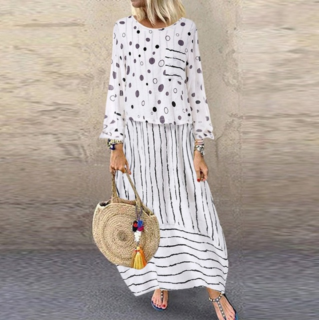 Echoine Women long maxi dresses Polka dot large loose fake two-piece cotton linen dress autumn plus size sundress female cloth 3